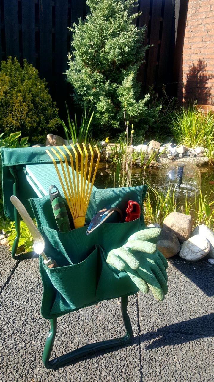 Relaxdays Kniestuhl Garten mit Werkzeug